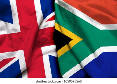 England and South Africa flag together