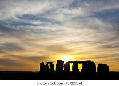 England - Stonehenge on sunset