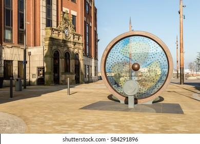 England, Sunderland - Feb 15, 2017: Propellers of the City Sunderland, public artwork installation at Keel Square