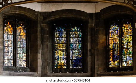 England, Sunderland - Feb 15, 2017: Sunderland Minster Bede Chapel Window