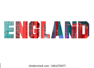 England text sign - country name word photo silhouette.