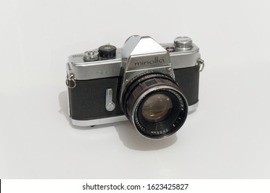 England UK 22/01/2020  The Minolta SR-1 was launched in 1959 as the second 35mm SLR camera from Chiyoda Kogaku, attached with a six-element Auto Rokkor-PF 1:2 f= 55mm lens.