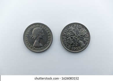 England UK 25/01/20 A 1955 sixpence, sometimes known as a tanner or sixpenny bit, is a coin that was worth one-fortieth of a pound sterling, or six pence, Minted from 1551 until 1970.