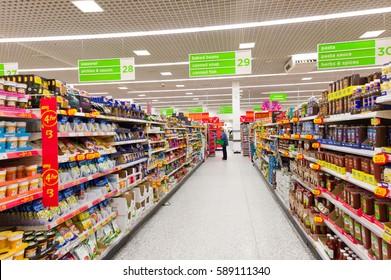 ENGLAND, UK - FEBRUARY 11, 2011: Asda supermarket aisle in England