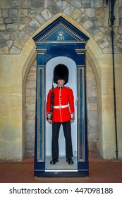 ENGLAND, UK - JUNE 18: The Queen's Guard at the Winsor Castle. The guards are contingents of infantry and cavalry soldiers charged with guarding the official royal residences in the United Kingdom.
