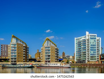 England, UK, Sept 2018, residential buildings built around Limehouse Basin Marina a gentrified area of East London