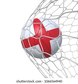England United Kingdom English British  Britannia flag soccer ball inside the net, in a net. Isolated on white background. 3D Rendering, Illustration.