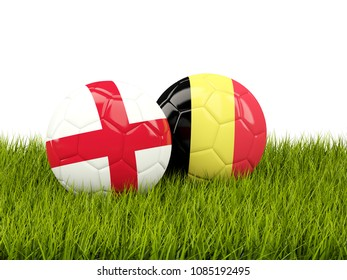 England vs Belgium. Soccer concept. Footballs with flags on green grass. 3D illustration