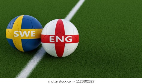 England vs. Sweden Soccer Match - Soccer balls in Swedish and English national colors on a soccer field. Copy space on the right side - 3D Rendering