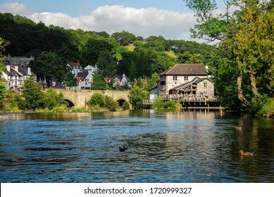 England, Wales, lonely house on the river bank.