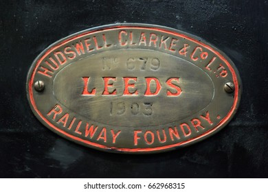 England, West Yorkshire. Keighley and Worth Valley Railway, steam trains, 5-miles up Worth Valley to Haworth and Oxenhope. Emblem Leeds railway foundry. 2017-05-06