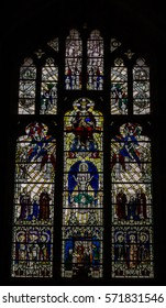 England, Worcester - Aug 03, 2015: Stained glass window B in Worcester Cathedral