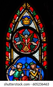 England, Worcester - Feb 13, 2017: Stained Glass in Worcester Cathedral - The Unett Window close up M: Scenes from the lives of Moses and Joshua