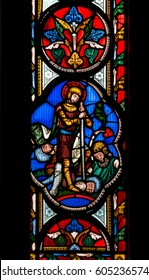 England, Worcester - Feb 13, 2017: Stained Glass in Worcester Cathedral - The Unett Window close up L: Scenes from the lives of Moses and Joshua