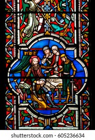 England, Worcester - Feb 13, 2017: Stained Glass in Worcester Cathedral - The Unett Window close up H: Scenes from the lives of Moses and Joshua