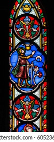England, Worcester - Feb 13, 2017: Stained Glass in Worcester Cathedral - The Unett Window close up I: Scenes from the lives of Moses and Joshua