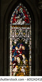 England, Worcester - Feb 13, 2017: Stained Glass in Worcester Cathedral - The Britten Window close up F: Scenes from the Life of John the Baptist