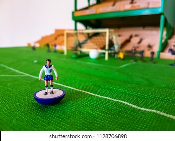 England World Cup Subbuteo football figures lined up on a grass football field