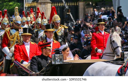 England,London 19.05.2018 Royal Wedding Prince Harry and Meghan Markle in London - Ride in the horse-drawn carriage