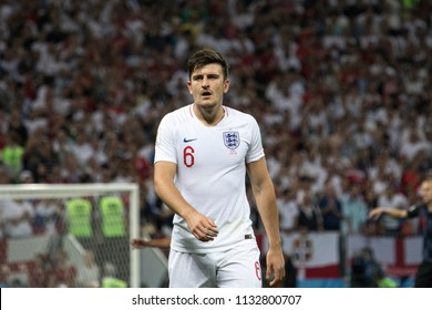 "Englands defender Harry Maguire 1/2 final football match at World cup 2018 between Croatia and England. ""Luzhniki"" stadium, Moscow, 11th of July 2018."