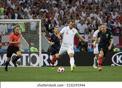 """England's forward Harry Kane with a ball. 1/2 final football match at World cup 2018 between Croatia and England. """"Luzhniki"""" stadium, Moscow, 11th of july 2018."""