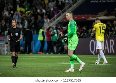 England's national football team goalkeeper Jordan Pickford during a penalty shootout vs Columbia. Match England-Columbia at World Cup 2018. 3rd of July, 2018 at Spartak Stadium.