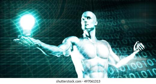 Englightened Man Holding a Light Bulb on Tech Background 3D Illustration