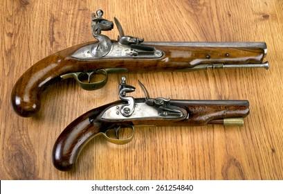 English 18th century flintlock pistols.