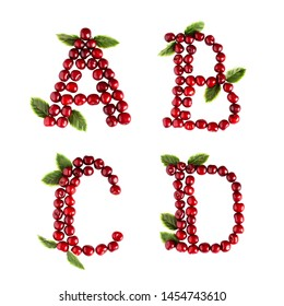 English ABCD alphabet letters of sweet cherries. Isolate on white background. Summer, healthy concept.