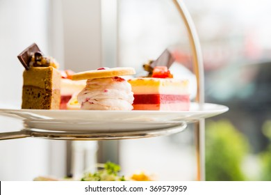 English afternoon tea desserts with beautiful breakfast snacks