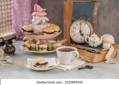 English Afternoon Tea with Scones and Sandwiches, Five O'Clock, copy space for your text