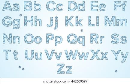 English alphabet. ABC. Berry alphabet. Blue background.