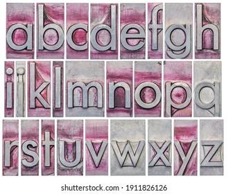 Englisches Alphabet - eine Collage von 26 Einzelbuchstaben in farbigem Schriftzeichen, gekratzt und mit violetter Tinte bedruckt