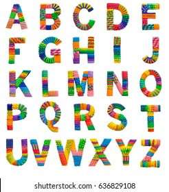 English alphabet from colored plasticine