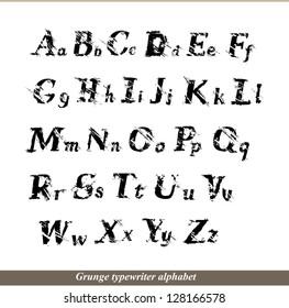 English alphabet - grunge typewriter letters. Raster version