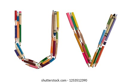 English alphabet - letters: U V, alphabet made from colorful used pencils, on absolutely isolated background. Very high letter size (about ~39cm/300dpi).