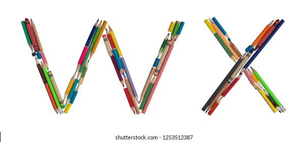 English alphabet - letters: W X, alphabet made from colorful used pencils, on absolutely isolated background. Very high letter size (about ~39cm/300dpi).