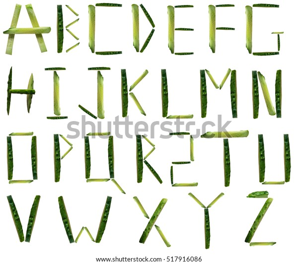 English Alphabet Made Fresh Cucumber Isolated Stock Photo