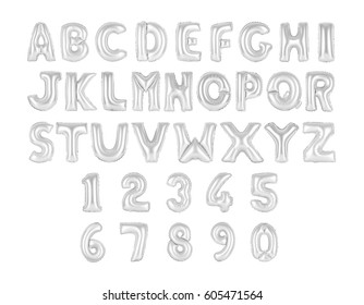 English alphabet and numerals from chrome, gray balloons on a white background. holidays and education