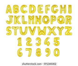 English alphabet and numerals from golden, yellow balloons on a white background. holidays and education
