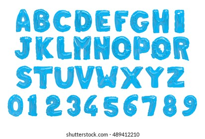 English alphabet and numerals from light blue balloons on a white background. holidays and education