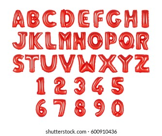 English alphabet and numerals from red, balloons on a white background. holidays and education