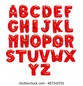 English alphabet from red balloons on a white background. holidays and education