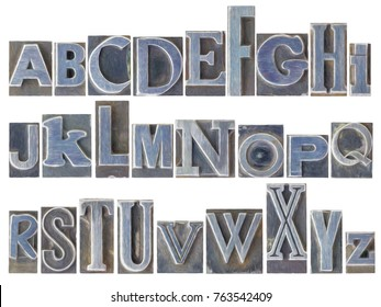 English alphabet set - a collage of 26 isolated letters in letterpress metal type printing blocks, a variety of mixed fonts with a digital painting effect