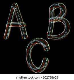English alphabet. When taking pictures technology was used freeze-light photo.