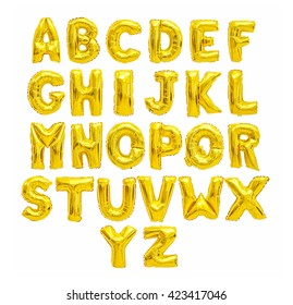 English alphabet from yellow (Golden) balloons on a white background. holidays and education