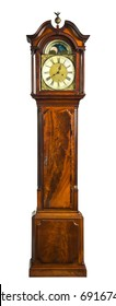 English antique tall long case clock known as grandfather  pendulum clock for halls large rooms and houses