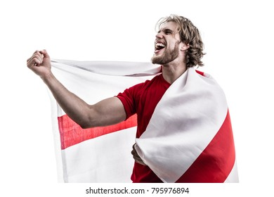 English athlete / fan celebrating on white background