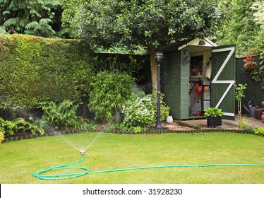 An English back garden being watered with a hosepipe and spray