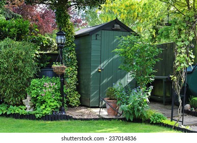 English back garden with shed amongst the plants